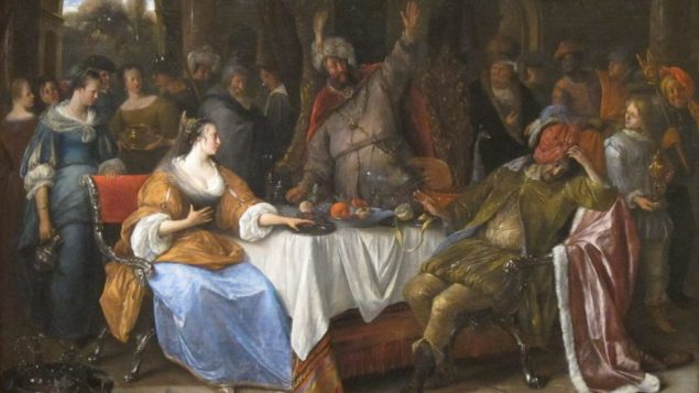 'Esther,_Ahasuerus,_and_Haman',_oil_on_canvas_painting_by_Jan_Steen,_c._1668