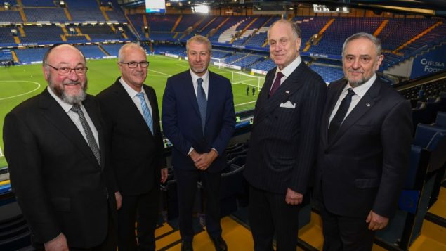 Left-right at Chelsea FC: Chief UK Rabbi Mirvis, Gad Ariely Chair, WJC Israel, Chelsea FC owner Roman Abramovich, WJC President Ronald Lauder, WJC CEO Robert Singer   Credit: Shahar Azran