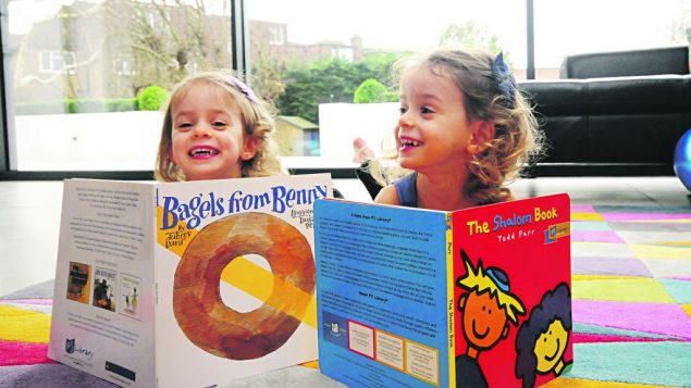 The 100,000th PJ Library book was delivered to Olive and Lexi Robinson, 3, from Finchley, earlier this month