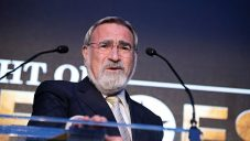 Lord Sacks speaking at Jewish News' Night of Heroes event in February   Credit: Blake Ezra Photography