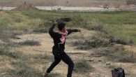 A Palestinian protester hurls stones toward Israeli soldiers during a demonstration near the Gaza Strip border with Israel, in eastern Gaza City, Friday, March 30, 2018. (AP Photo/ Khalil Hamra)