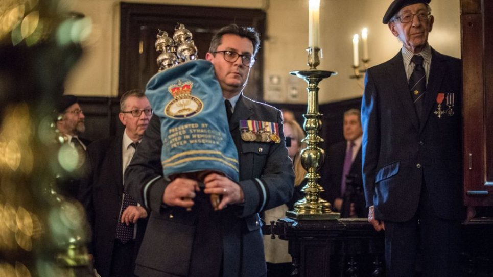 A Jewish Representative from the Royal Air Force carries the Scrolls.   Photo credit: Sgt Rupert Frere/MOD Crown Copyright.