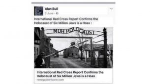 Alan Bull posting Holocaust denial literature on Facebook