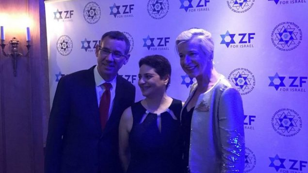 Israeli Ambassador Mark Regev (left) with Katie Hopkins (right) and another guest. The ZF came in for significant criticism after the controversial columnist appeared at the dinner