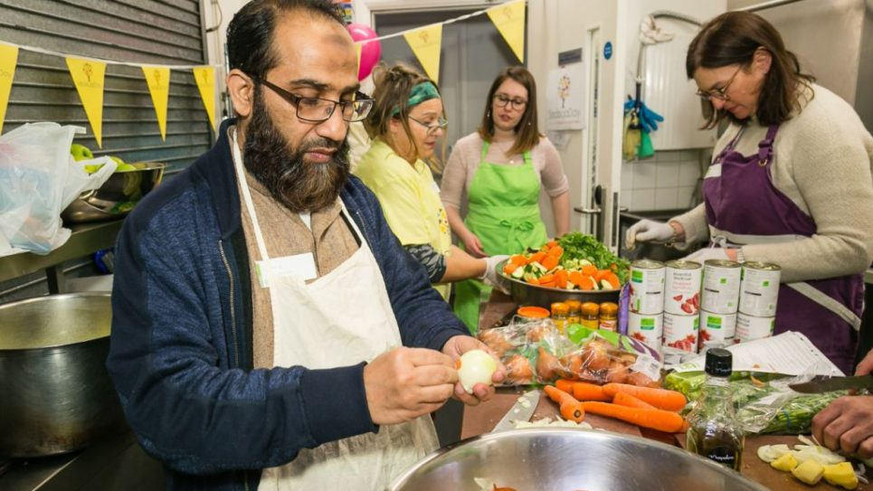 Imam Hafiz Waseem was part of the Jewish_Muslim group cooking at Ashford Place - photo by Yakir Zur