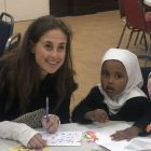 London Central Mosque card writing for Great Ormond Street