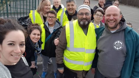 Manchester's Friendship Circle teaming with North Manchester Jamia Mosque and the Cheetham Churches Group to clear up the local neighbourhood 1