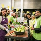 Members of Alyth Synagogue and The Mosque and Islamic Centre of Brent, including Imam Hafiz Waseem and Mitzvah Day's Charlie Agran, cooking at Ashford Place - photo by Yakir Zur