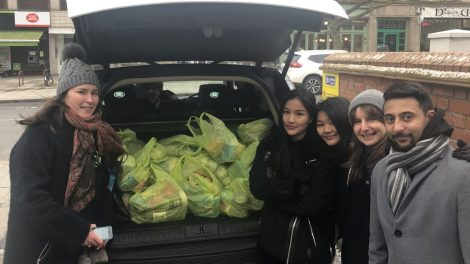 Royal Free Hospital Trust staff collecting food for St Laurence's Larder