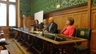 Sajid Javid (second right) speaking at the AJC event in parliament