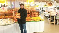 A shopper browses for matzah at the Amsterdam Noord branch of the Jumbo supermarket chain.
