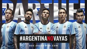 Poster urging the Argentina team not to travel to the Jewish state