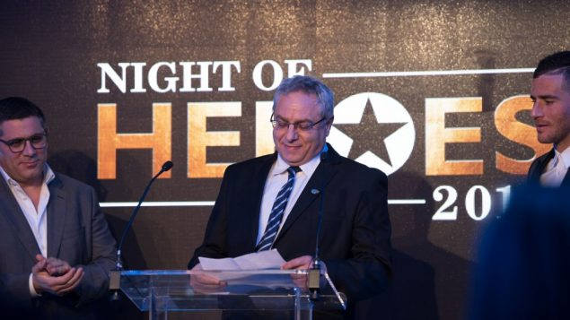Dr Lior Sasson of Save A Child's Heart winning his award at Jewish News' Night of Heroes