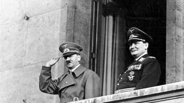 Adolf Hitler with Göring on balcony of the Chancellery, Berlin, 16 March 1938