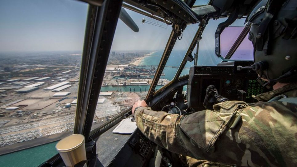 View over the Israeli coast from an RAF plane which took part in the flyover