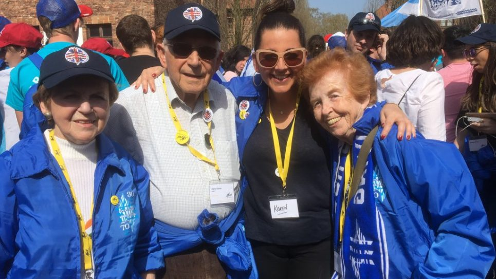 Karen (second from left) with survivors Mala Tribich , Eve Kugler, Harry Olmer,