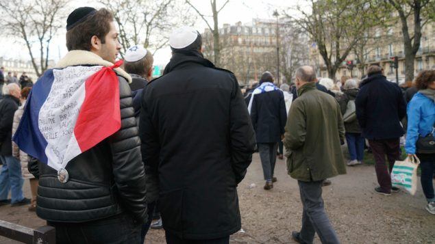 Jews participating in a memorial march for Mireille Knoll