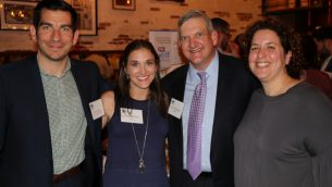 (From left) JELF Director of Development Josh Schaier, JELF CEO Jenna Shulman, board President Stan Lowenstein and JELF recipient Elizabeth Goldberg