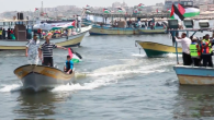Screenshot from Youtube of Palestinian boats setting sail trying to break Israel's blockade
