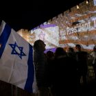 A thank you message projected onto the walls of the Old City of Jerusalem to mark Yom Yerushalayim (Jerusalem Day),   Credit: Ancho Gosh