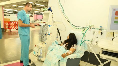 A dialysis unit operates in the underground clinic.