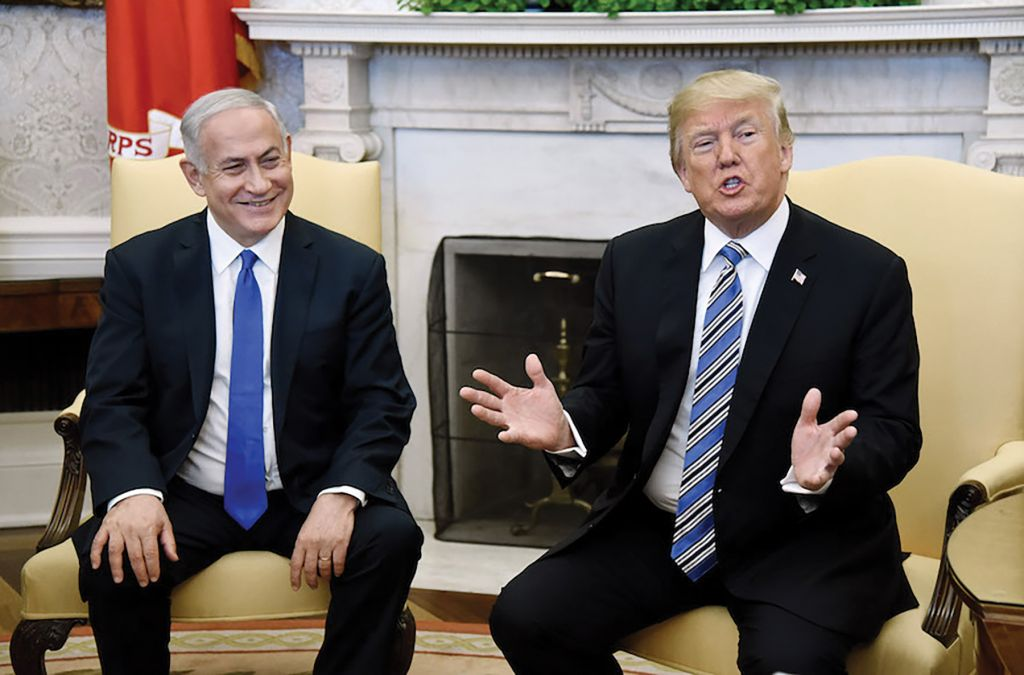 President Donald Trump gestures during a meeting in March with Israeli Prime Minister Benjamin Netanyahu in the Oval Office. Getty Images