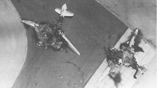 Six Day War. Egyptian planes destroyed on the ground planes attacking Egyptian air bases..