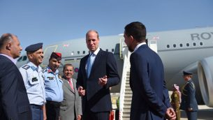 The Duke of Cambridge, with the Crown Prince of Jordan (right), after arriving at Marka Airport, Amman, Jordan at the start of his Middle East tour.   Photo credit: Joe Giddens/PA Wire