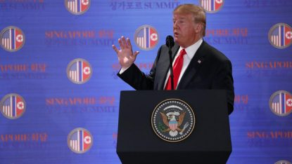 U.S. President Donald Trump speaks during a news conference after his meeting with North Korean leader Kim Jong Un at the Capella Hotel on Sentosa island in Singapore