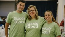 Roz Bluestone with volunteers Adam and Mia raising funds with 'Goods for Good'