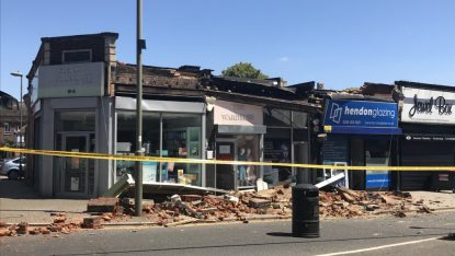 The collapsed building   Picture: MPS Barnet