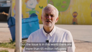 Screenshot from Jeremy Corbyn's video from a refugee camp in Jordan