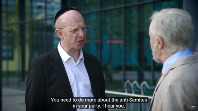 A clip from the sketch, of Jeremy Corbyn being confronted by a visibly Orthodox Jewish man, who complains about his handling of the anti-Semitism row