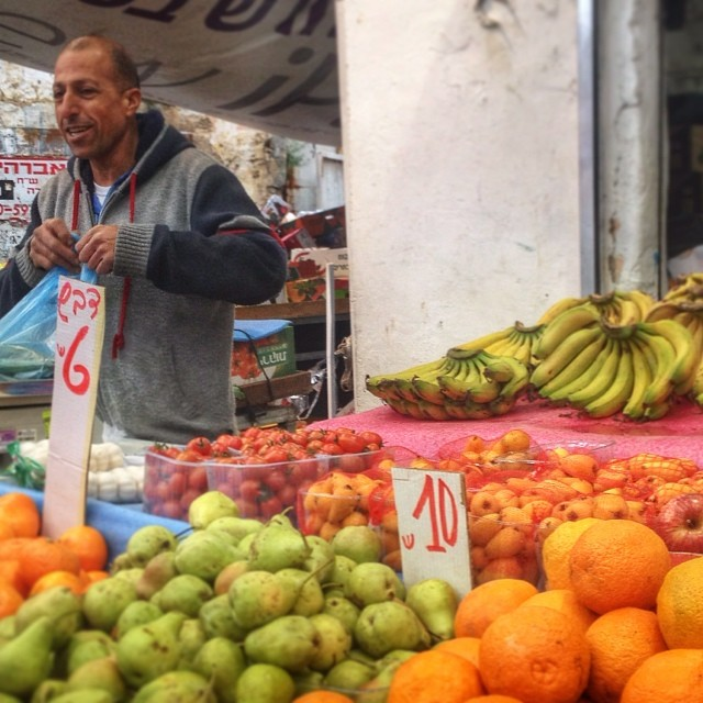 Selling fruit in the Ramle Shuk