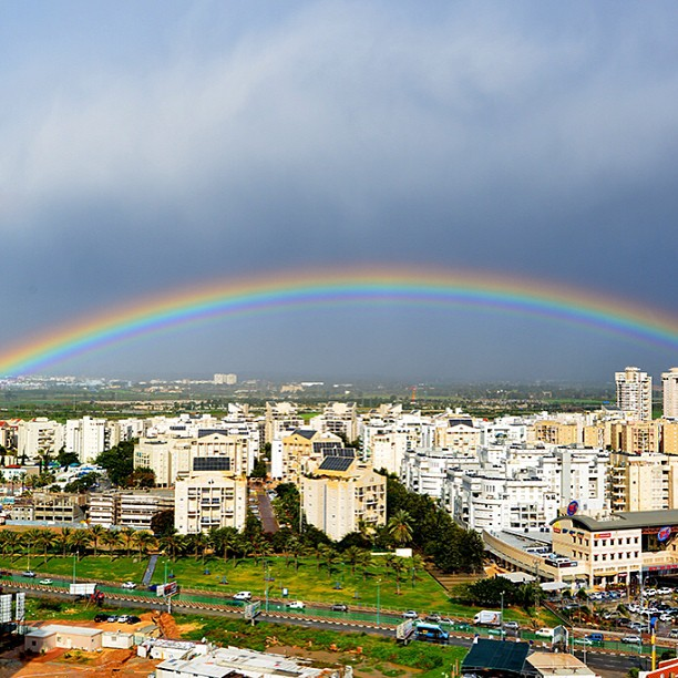 January 9, 2012 - #timesofisrael photo of the day: a #rainbow over Petah Tikvah. Photo by @ormany