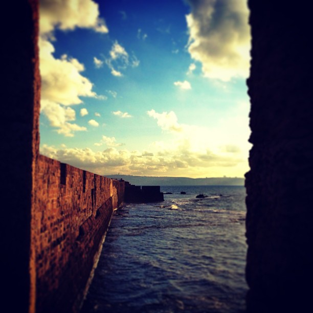 Looking on the fortress walls of Acco.