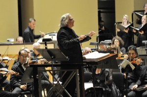 """""""Defiant Requiem"""" creator and conductor Murry Sidlin leads the Atlanta Symphony Orchestra in ADL-sponsored concert earlier this month."""