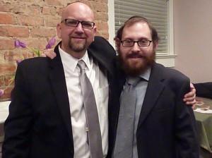 Rabbi David Nesenoff (left) poses with Rabbi Ari Sollish of Chabad Intown. PHOTO / John McCurdy