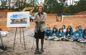 Mollie Aczel, Davis Academy's first Head of School, shown here with students at the groundbreaking for the school's first permanent building in 1995.