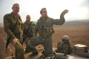IDF Chief of Staff Benny Gantz, far left, during a visit to the Golan Heights. in recent weeks Israel has increase the number of troops in the area as the civil war in Syria has intensified. Photo / Israel Defense Forces.