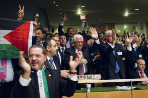 Members of the Palestinian delegation at the UN celebrate last year after a vote was passed to upgrade Palestinian status to a non-member observer state. Unfortunately, most Palestinians seem stuck in the past, ignoring the reality of Israel and hoping only for the creation of a Palestinian state. PHOTO / UN