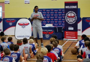 Hawks' Louis Williams offers youngsters at basketball camp a few pointers during recent visit. PHOTO / MJCCA