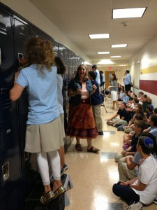 "GHA middle schoolerss take part in a ""locker race"" challenge during the opening week of school. PHOTO / GHA"