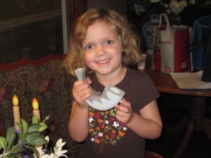 Alice has her shofar at the ready and is prepared to bring in the New Year with a mighty blast. PHOTO / Hadassah