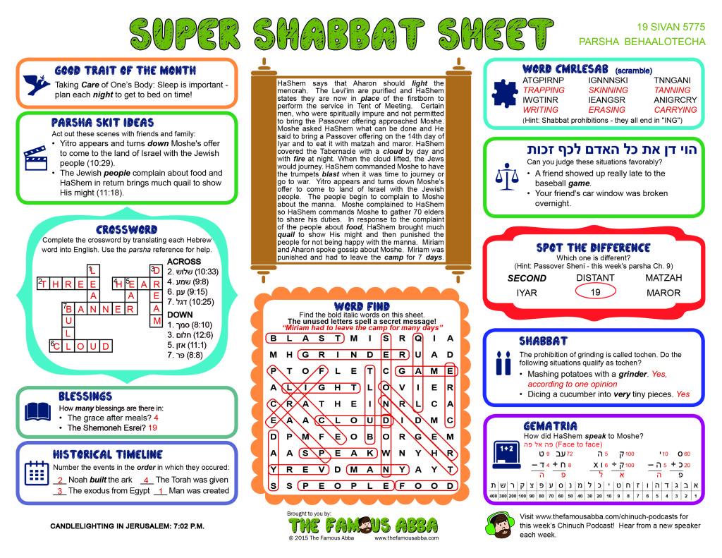Super Shabbat Sheet solutions for Behaalotcha