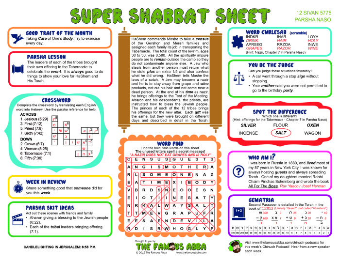 Super Shabbat Sheet answers for Naso