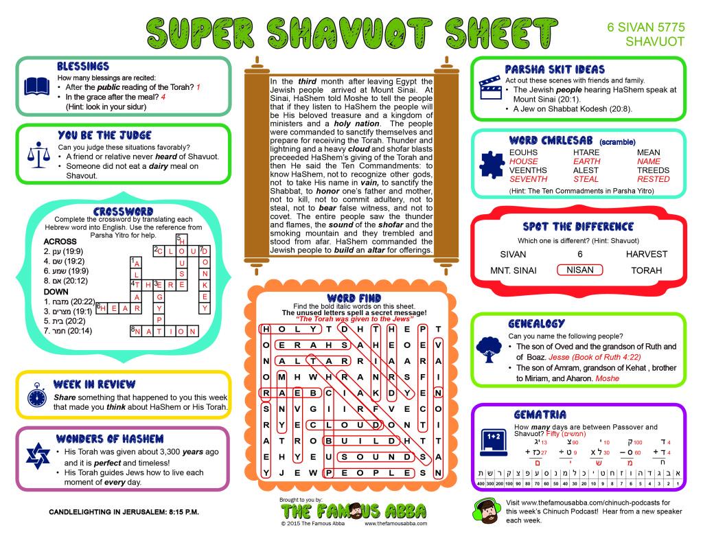 Super Shavuot Sheet - 5775 (English) Answer Sheet