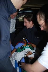 Rachel Barnhard teaches her EMT class in 2012.