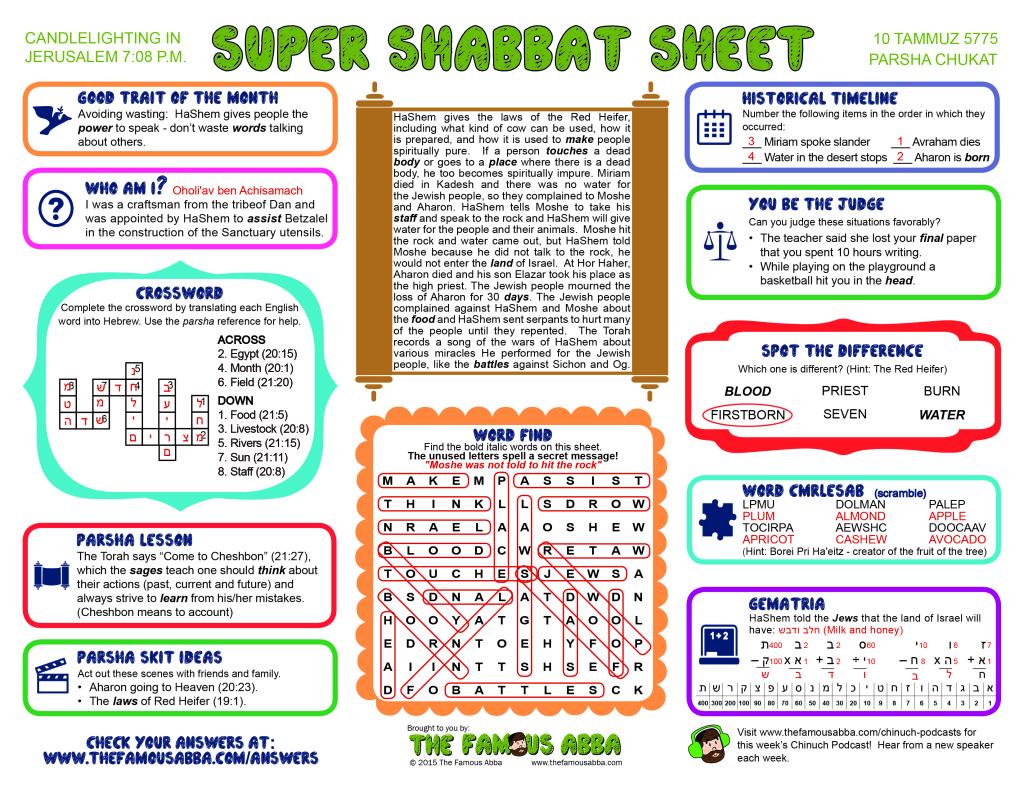 Super Shabbat Sheet answers for Chukat