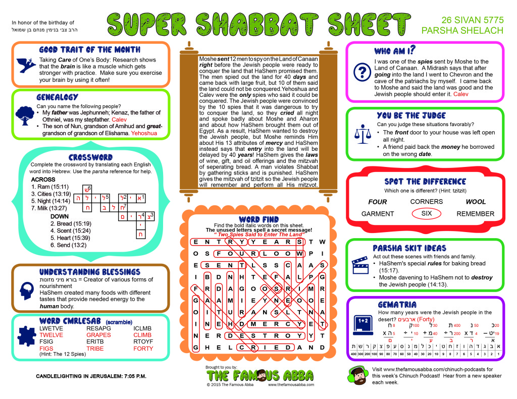 Super Shabbat Sheet solutions for Shelach